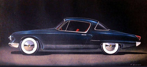 Studebaker design sketch by Virgil Exner Jr.